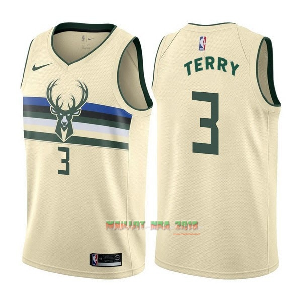 Maillot NBA Nike Milwaukee Bucks NO.3 Jason Terry Nike Crème Ville
