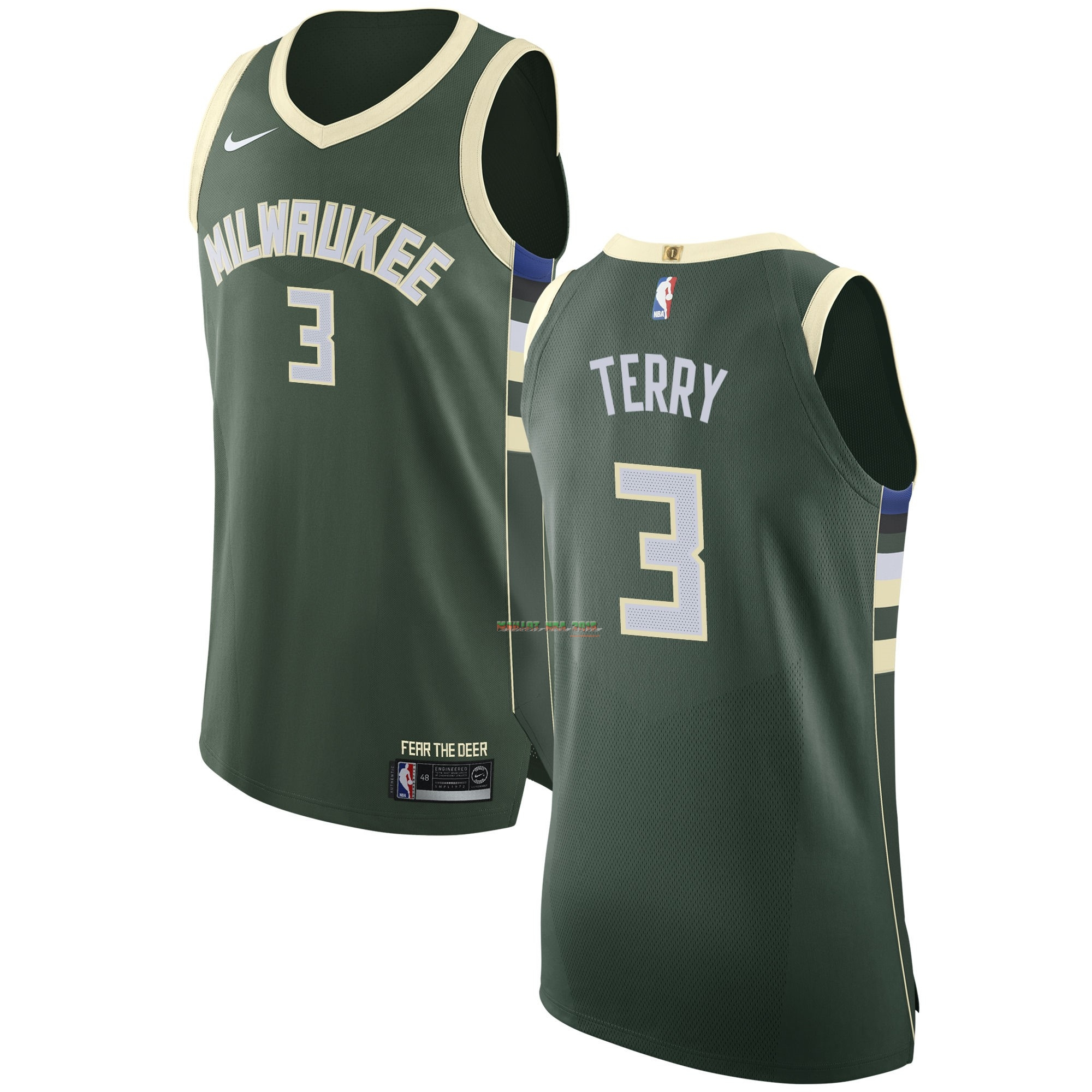 Maillot NBA Nike Milwaukee Bucks NO.3 Jason Terry Vert Icon