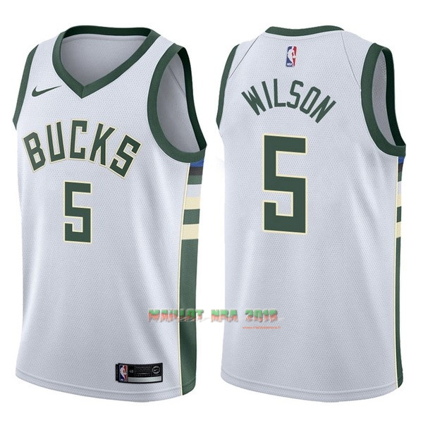 Maillot NBA Nike Milwaukee Bucks NO.5 D.J. Wilson Blanc Association