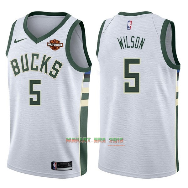 Maillot NBA Nike Milwaukee Bucks NO.5 D.J. Wilson Blanc