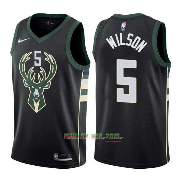 Maillot NBA Nike Milwaukee Bucks NO.5 D.J. Wilson Noir Statement