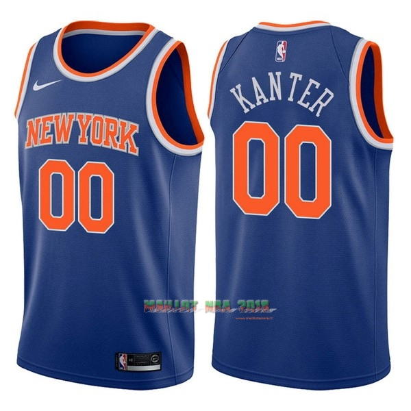 Maillot NBA Nike New York Knicks NO.0 Enes Kanter Bleu Icon