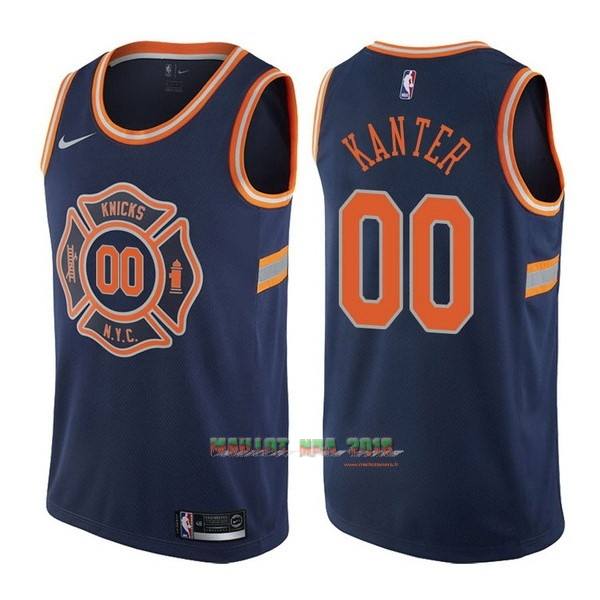 Maillot NBA Nike New York Knicks NO.0 Enes Kanter Nike Bleu Ville