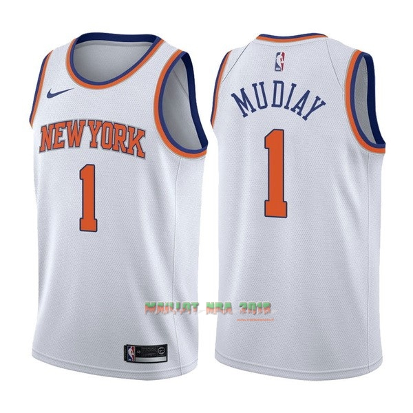 Maillot NBA Nike New York Knicks NO.1 Emmanuel Mudiay Blanc Association