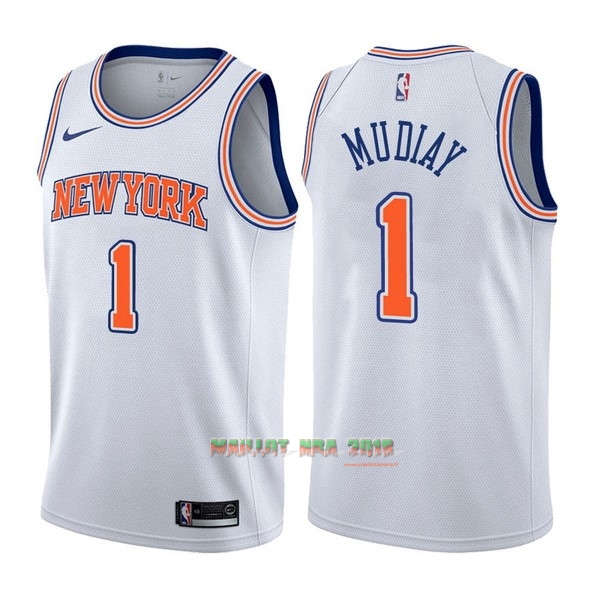 Maillot NBA Nike New York Knicks NO.1 Emmanuel Mudiay Blanc Statement