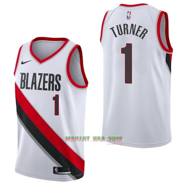 Maillot NBA Nike Portland Trail Blazers NO.1 Evan Turner Blanc Association