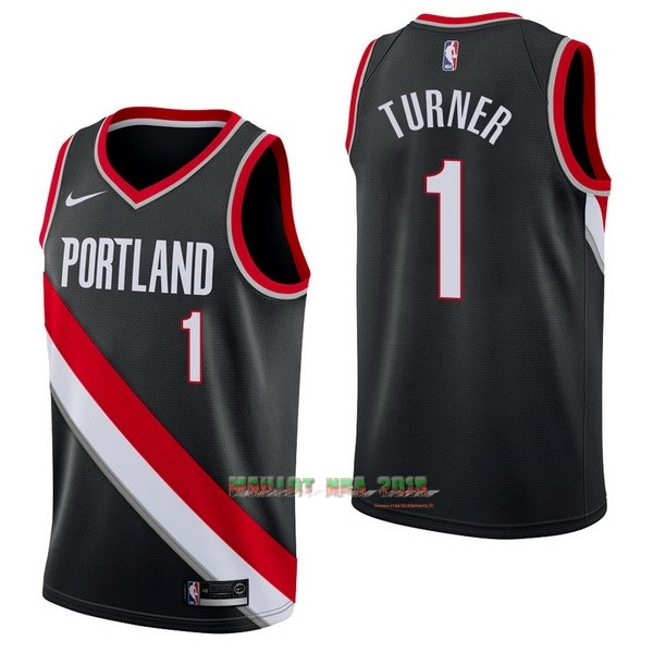 Maillot NBA Nike Portland Trail Blazers NO.1 Evan Turner Noir Icon