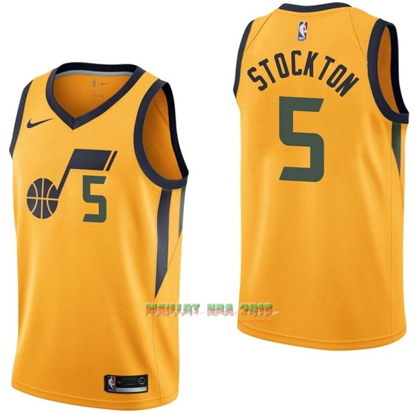 Maillot NBA Nike Utah Jazz NO.5 David Stockton Jaune Statement