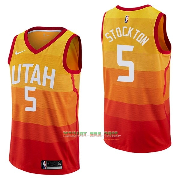Maillot NBA Nike Utah Jazz NO.5 David Stockton Nike Jaune Ville