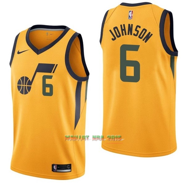 Maillot NBA Nike Utah Jazz NO.6 Joe Johnson Jaune Statement