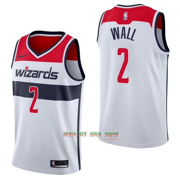 Maillot NBA Nike Washington Wizards NO.2 John Wall Blanc Association