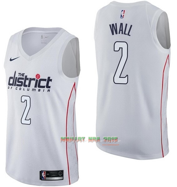Maillot NBA Nike Washington Wizards NO.2 John Wall Nike Blanc Ville