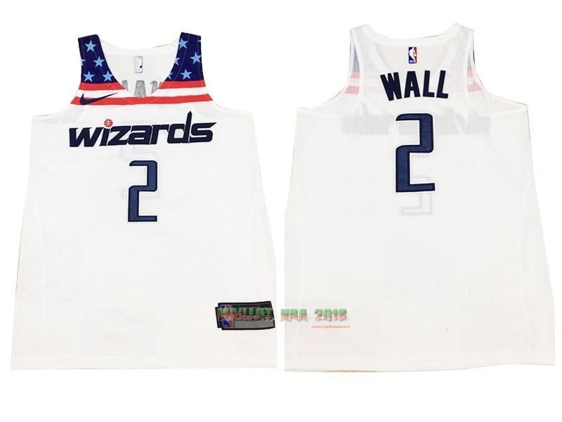 Maillot NBA Nike Washington Wizards NO.2 John Wall Tout Blanc