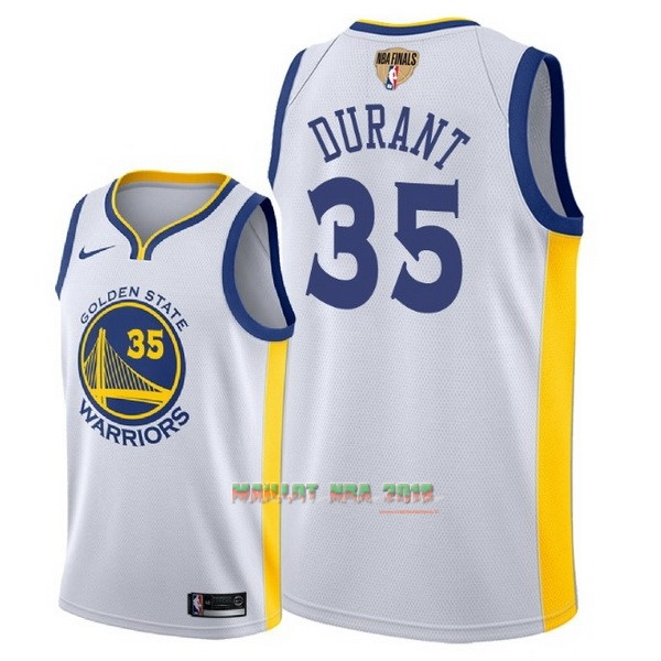 Maillot NBA Golden State Warriors 2018 Final Champions NO.35 Kevin Durant Blanc