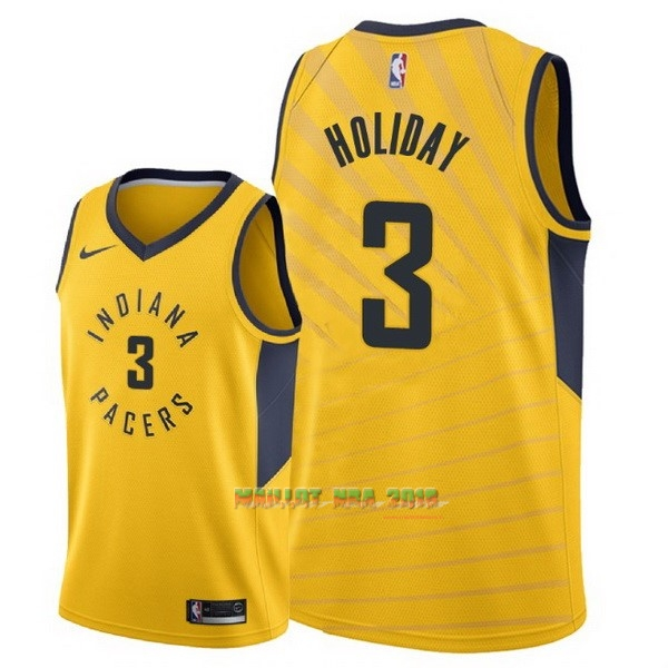 Maillot NBA Nike Indiana Pacers NO.3 Aaron Holiday Jaune Statement 2018