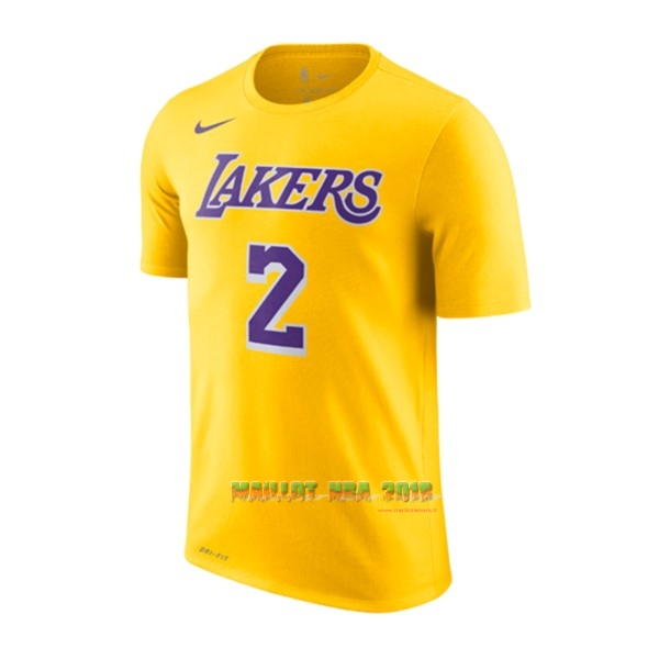 Maillot NBA Nike Los Angeles Lakers Manche Courte NO.2 Lonzo Ball Jaune Icon 2018-19