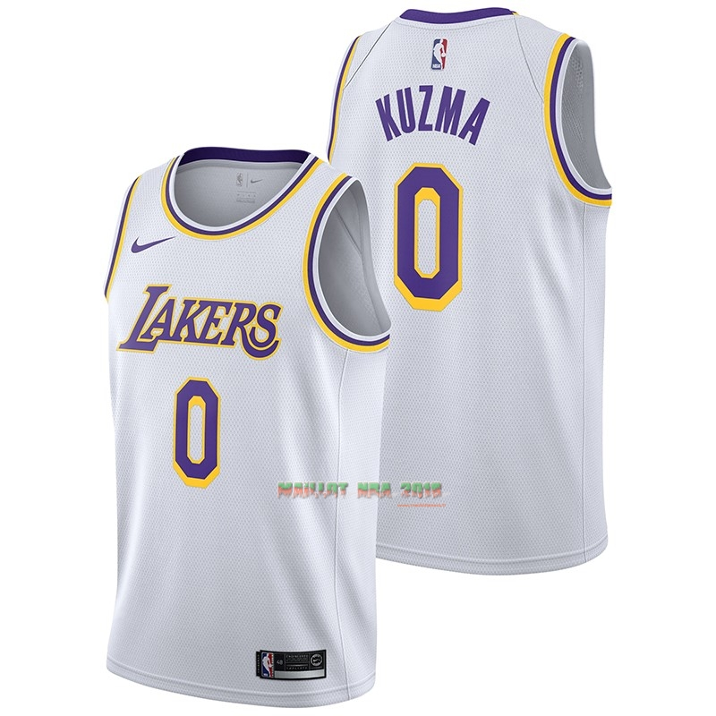 Maillot NBA Nike Los Angeles Lakers NO.0 Kyle Kuzma Blanc Association 2018-19