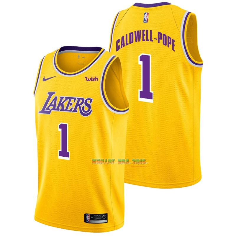 Maillot NBA Nike Los Angeles Lakers NO.1 Kentavious Caldwell Pope Jaune 2018-19