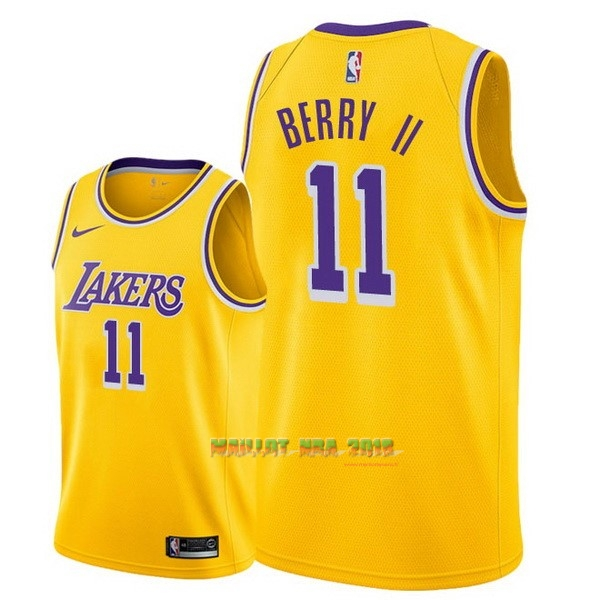 Maillot NBA Nike Los Angeles Lakers NO.11 Joel Berry II Jaune Icon 2018-19