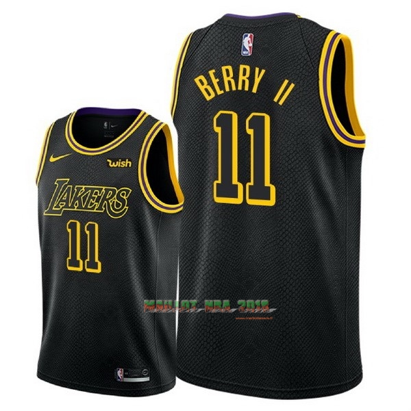 Maillot NBA Nike Los Angeles Lakers NO.11 Joel Berry II Noir Ville 2018