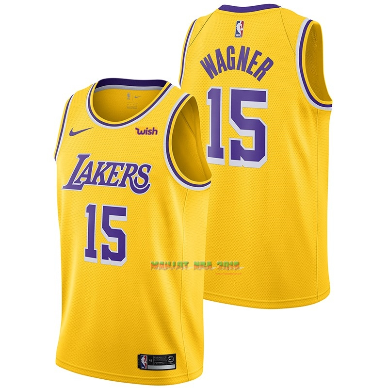 Maillot NBA Nike Los Angeles Lakers NO.15 Moritz Wagner Jaune 2018-19