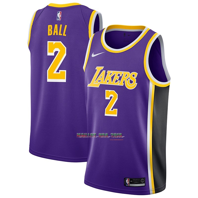 Maillot NBA Nike Los Angeles Lakers NO.2 Lonzo Ball Pourpre Statement 2018-19