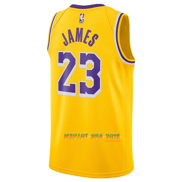 Maillot NBA Nike Los Angeles Lakers NO.23 Lebron James Jaune 2018-19