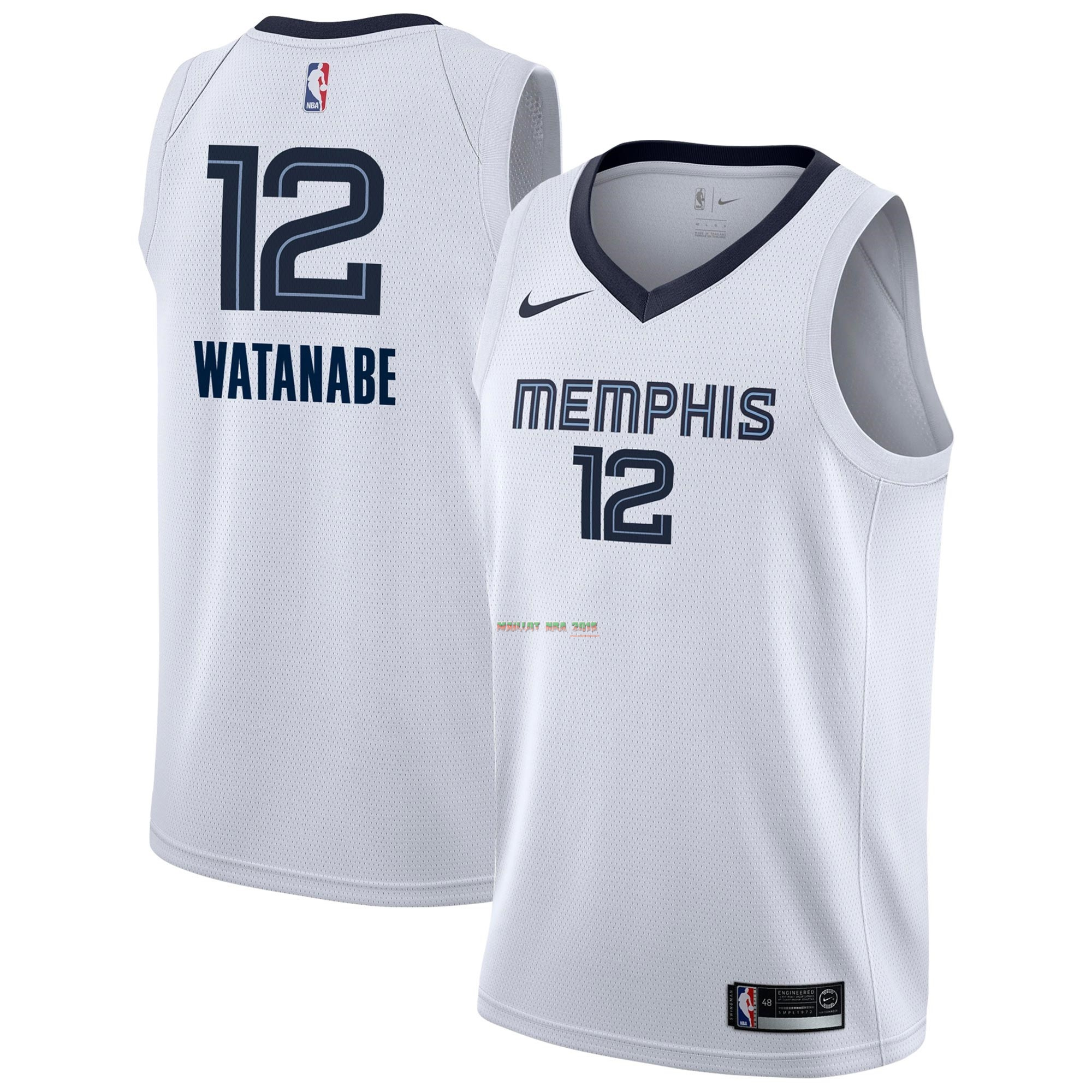 official photos cd23a bd966 Maillot NBA Nike Memphis Grizzlies NO.12 Yuta Watanabe Blanc Association  2018-19