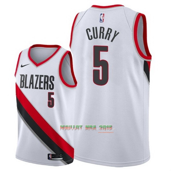 Maillot NBA Nike Portland Trail Blazers NO.5 Seth Curry Blanc Association 2018