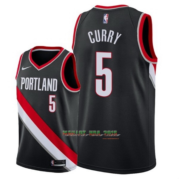 Maillot NBA Nike Portland Trail Blazers NO.5 Seth Curry Noir Icon 2018