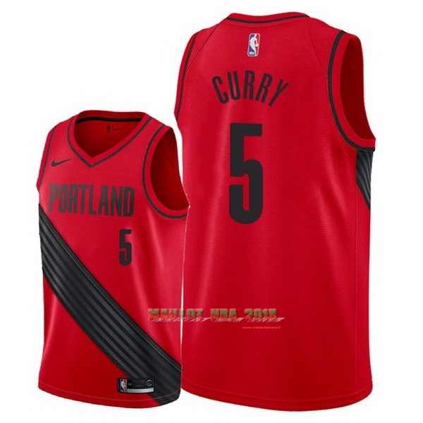 Maillot NBA Nike Portland Trail Blazers NO.5 Seth Curry Rouge Statement 2018