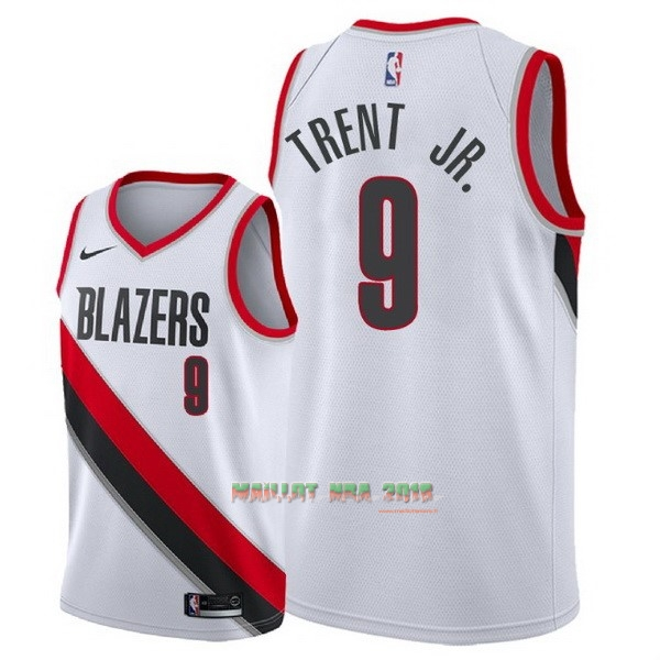Maillot NBA Nike Portland Trail Blazers NO.9 Gary Trent Jr Blanc Association 2018