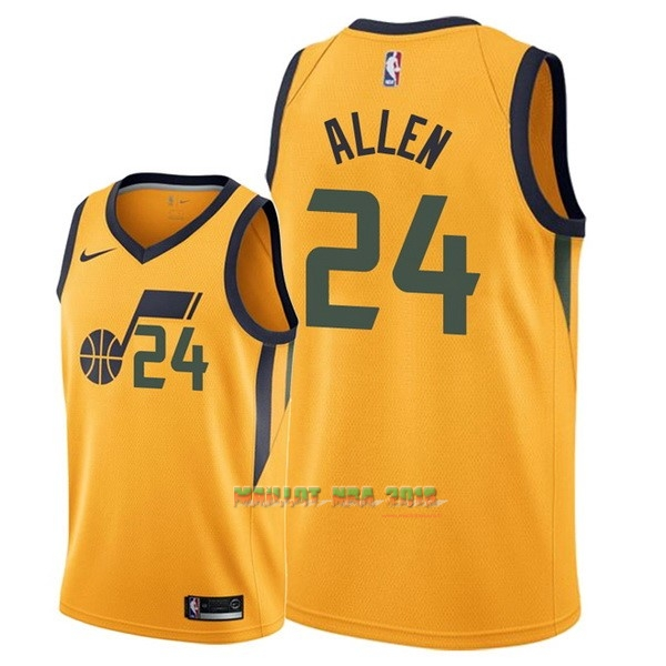 Maillot NBA Nike Utah Jazz NO.24 Grayson Allen Jaune Statement 2018