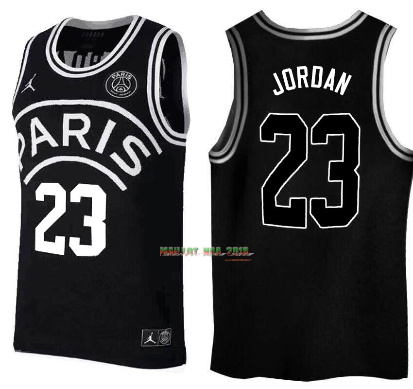 Maillot Collaboration Maillot Basket-ball Jordan x Paris Saint-Germain NO.23 Jordan Noir Logo Blanc
