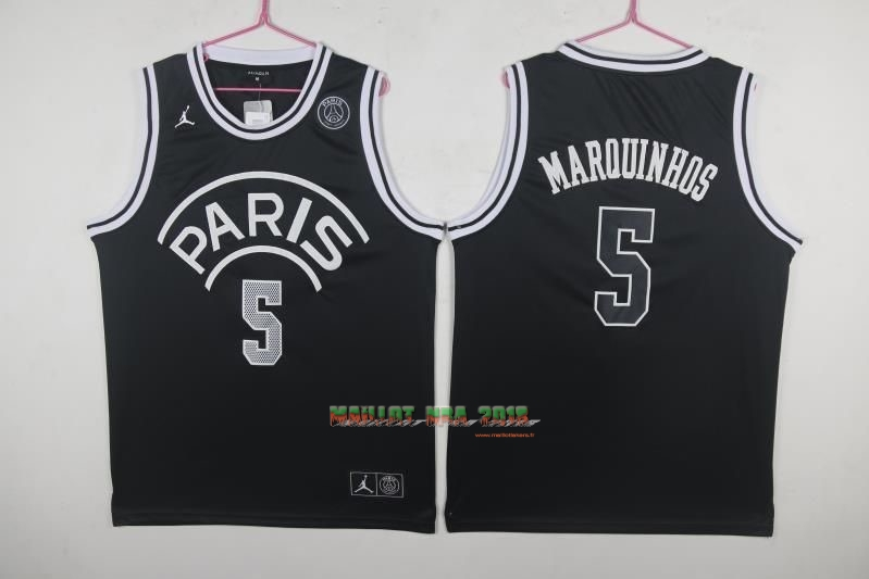 Maillot Collaboration Maillot Basket-ball Jordan x Paris Saint-Germain NO.5 Marquinhos Noir