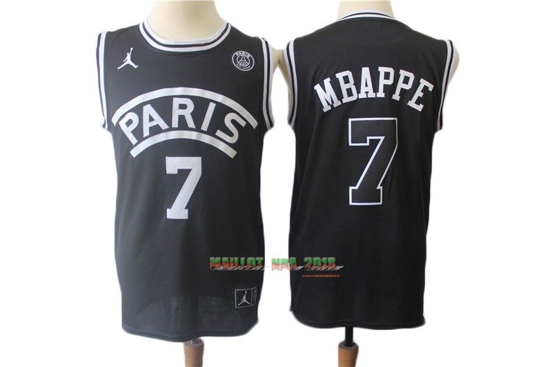 Maillot Collaboration Maillot Basket-ball Jordan x Paris Saint-Germain NO.7 Kylian Mbappe Noir
