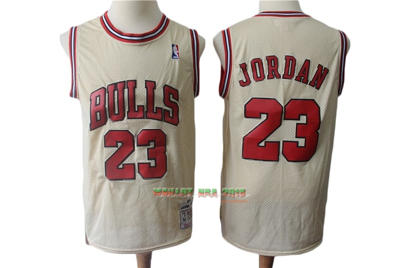 Maillot NBA Chicago Bulls NO.23 Michael Jordan Retro Crème