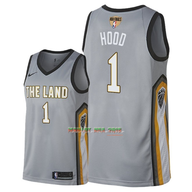 Maillot NBA Cleveland Cavaliers 2018 Final Champions NO.1 Rodney Hood Nike Gris Ville Patch