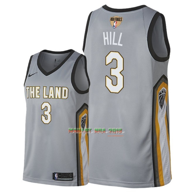 Maillot NBA Cleveland Cavaliers 2018 Final Champions NO.3 George Hill Nike Gris Ville Patch