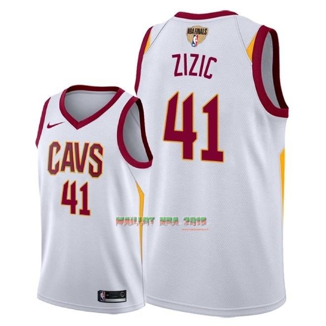 Maillot NBA Cleveland Cavaliers 2018 Final Champions NO.41 Ante Zizic Blanc Association Patch