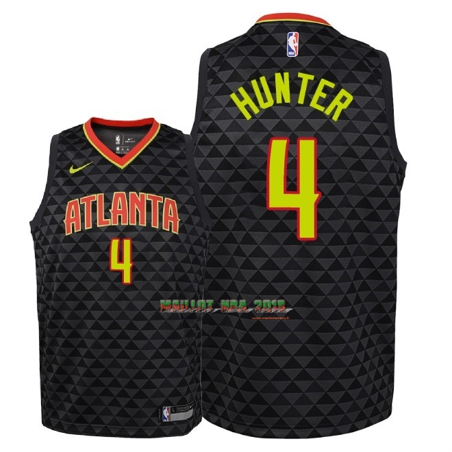 Maillot NBA Enfant Atlanta Hawks NO.4 R.J. Hunter Noir Icon 2018-19