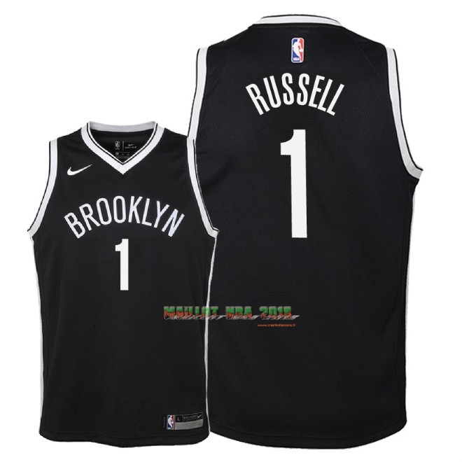 Maillot NBA Enfant Brooklyn Nets NO.1 D'Angelo Russell Noir Icon 2018
