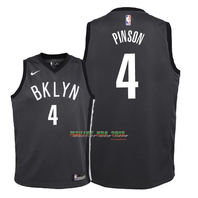 Maillot NBA Enfant Brooklyn Nets NO.10 Theo Pinson Noir Statement 2018