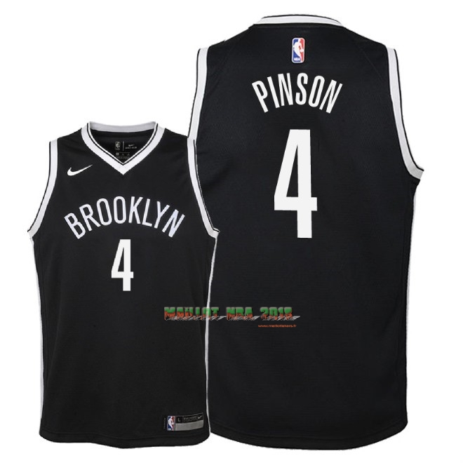 Maillot NBA Enfant Brooklyn Nets NO.4 Theo Pinson Noir Icon 2018