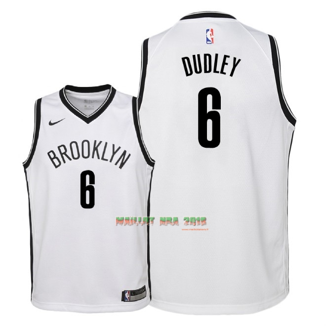 Maillot NBA Enfant Brooklyn Nets NO.6 Jared Dudley Blanc Association 2018