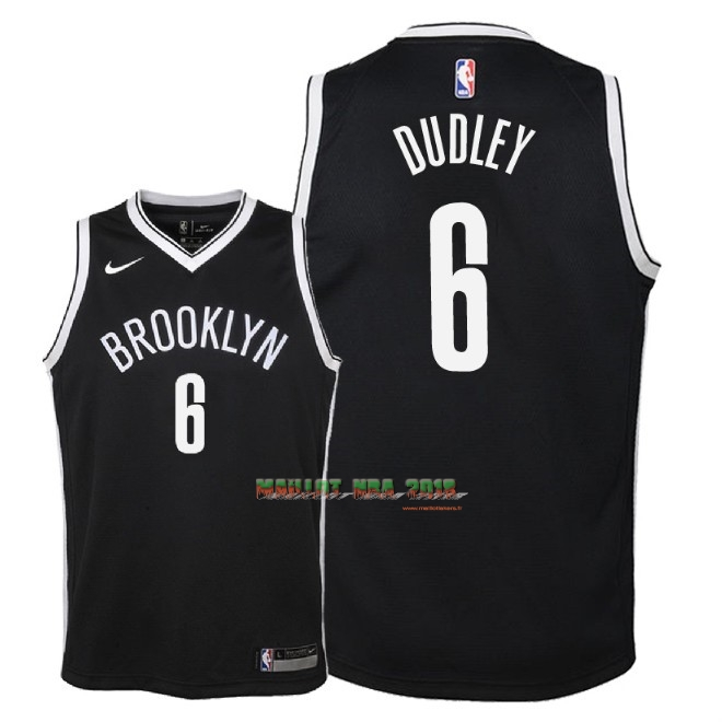 Maillot NBA Enfant Brooklyn Nets NO.6 Jared Dudley Noir Icon 2018