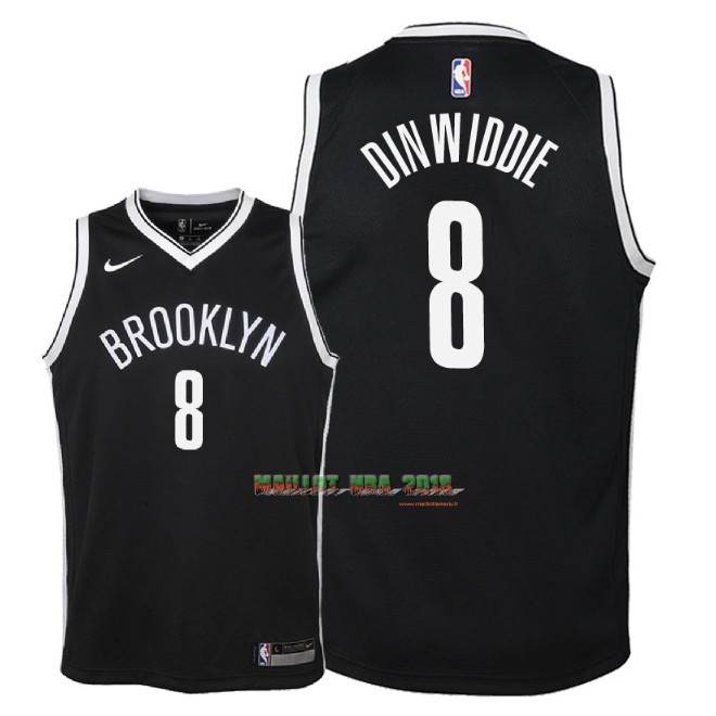 Maillot NBA Enfant Brooklyn Nets NO.8 Spencer Dinwiddie Noir Icon 2018