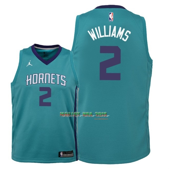Maillot NBA Enfant Charlotte Hornets NO.2 Marvin Williams Vert Icon 2018