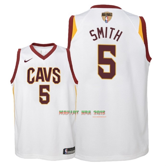 Maillot NBA Enfant Cleveland Cavaliers 2018 Final Champions NO.5 JR. Smith Blanc Association Patch