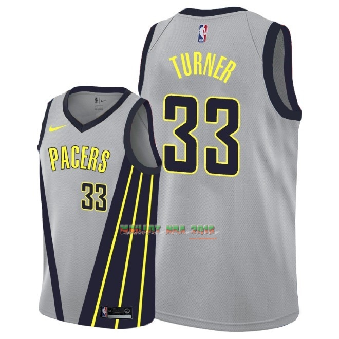 Maillot NBA Enfant Indiana Pacers NO.33 Myles Turner Nike Gris Ville 2018-19